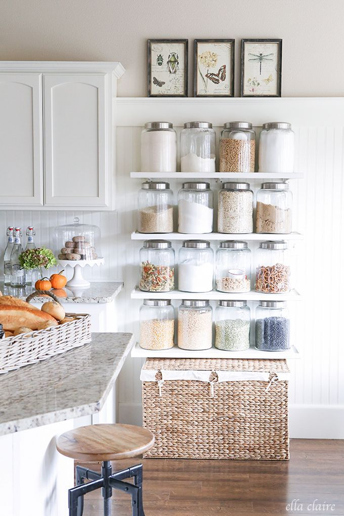 DIY Kitchen Shelves- Pantry Solution for everyday food and staples