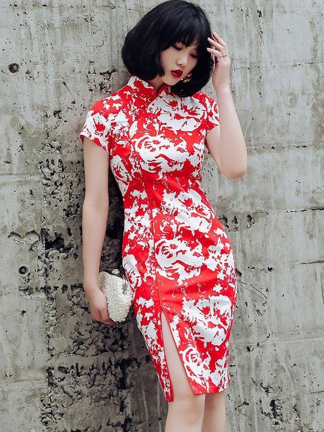 Custom Made Red Colorblocked Qipao / Cheongsam Dress
