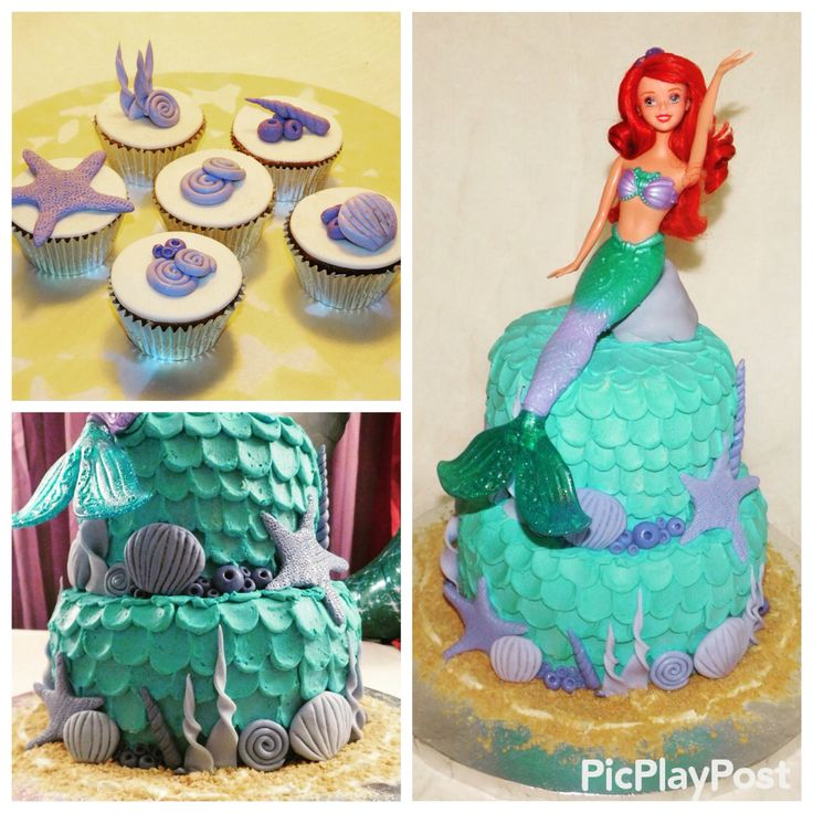 Cake Art Instagram : Ariel cake & cupcakes! Fondant art, frosting waves. Add me ...