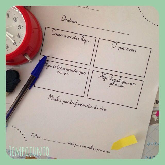 Diario de viagem para crianças - DIY diary for kids in Portuguese
