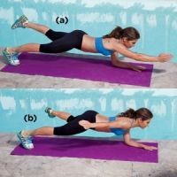 Uneven Arm Hold with Arm Fly: Jillian Michaels demonstrates one (of four) moves that'll get you strong, sculpted abs