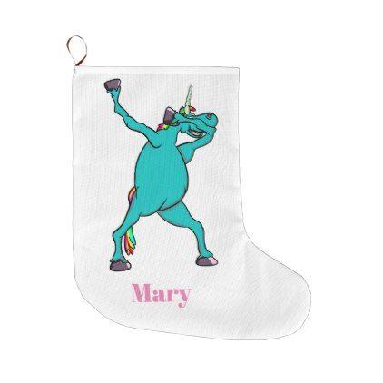 Funny Unicorn Dabbing Dance Large Christmas Stocking - christmas stockings merry xmas cyo family gifts presents
