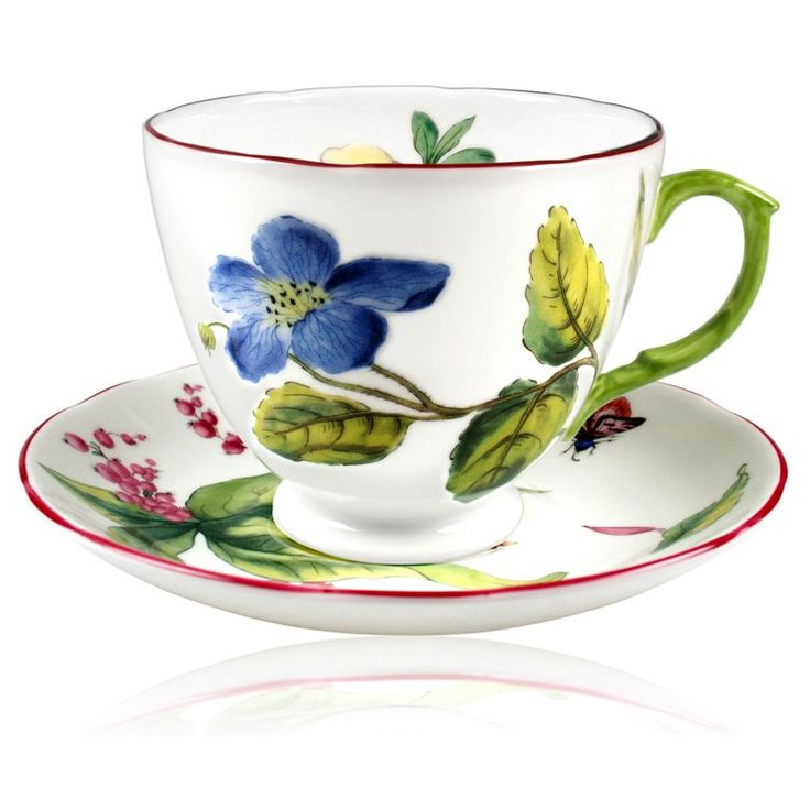 The pieces in this beautiful range are closely derived from the large collection of botanical porcelain acquired over a long period, beginning in 1947, by Queen Elizabeth The Queen Mother. English fine bone china. Sizes: saucer -15cm diameter, cup 9cm height.