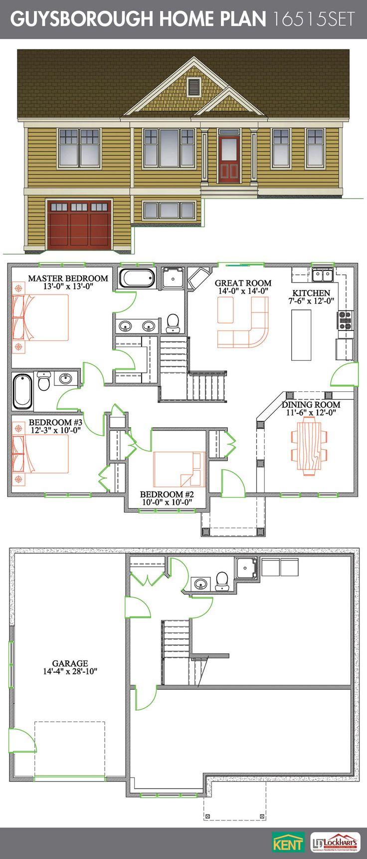 27 best bungalow home plans images on pinterest home builder guysborough 3 bedroom 3 bathroom home plan features open concept great room