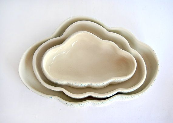 Nested Ceramic Bowls Cloud-Shaped and Decorated by Barruntando