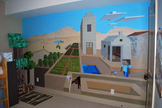 Minecraft wall mural alijah 39 s minecraft room - Stickers papier peint mural ...