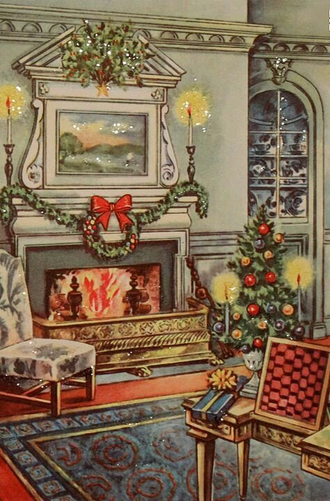 378 Best Old Fashioned Christmas Cards Fireplaces