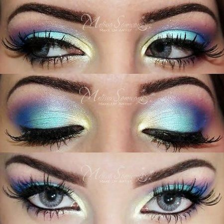 Colorful Eye Makeup! Love this! Would be PERFECT for Halloween, fairy/princess/angel costume.