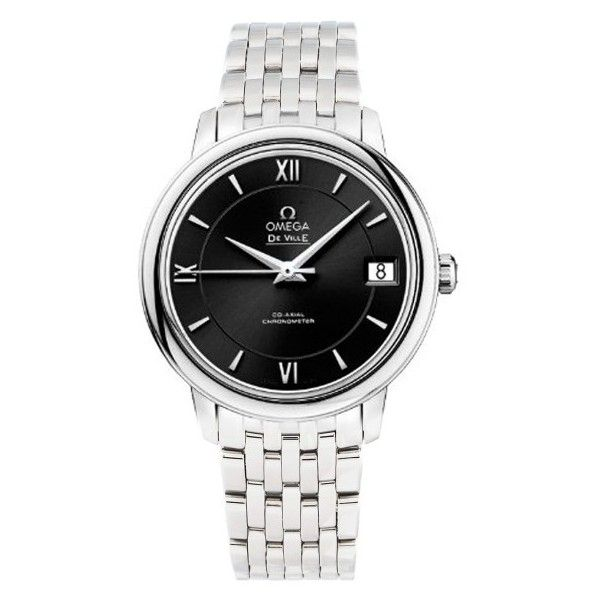 Pre-owned Omega De Ville Prestige 424.10.33.20.01.001 Automatic Black... ($2,795) ❤ liked on Polyvore featuring jewelry, watches, omega watches, stainless steel jewelry, automatic movement watches, dress watches and preowned watches