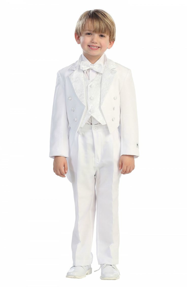 This tuxedo instantly turns any child into a handsome young prince!  This tuxedo is a staple that can be worn event after event. Cheaper than the rentals! You receive 5 pieces including: 3 button Jacket with tail, Pants, Long sleeved white shirt, black button up vest, and cute bow tie. This suit is made from a designer label that upholds to the highest in quality and super cute style and value.