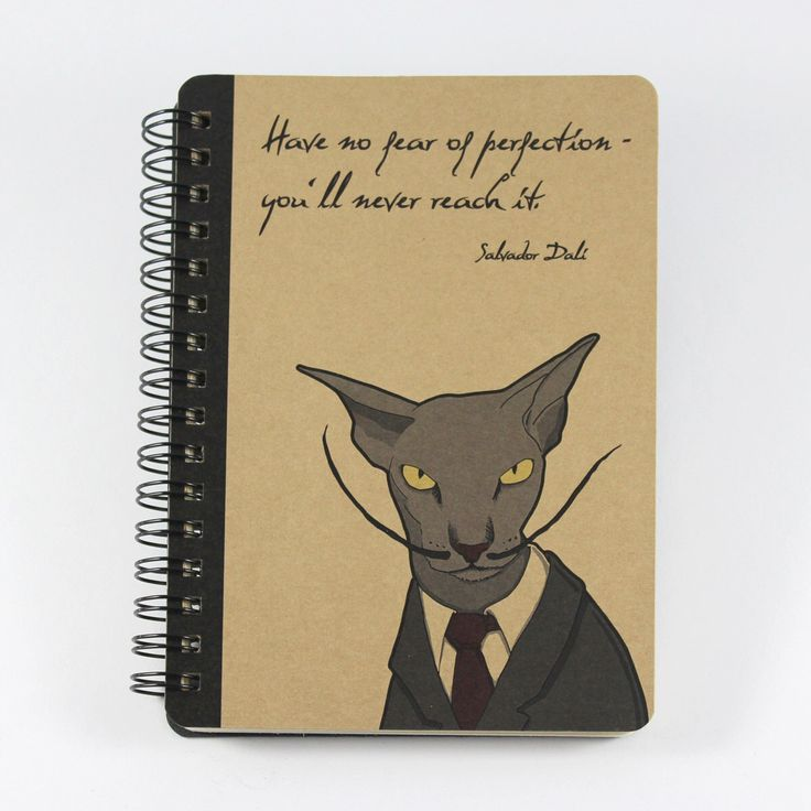 Cat Notebook Salvador Dalí Quote, Spiral Bound Small Notebook by UrbanPrey on Etsy https://www.etsy.com/listing/195806683/cat-notebook-salvador-dali-quote-spiral