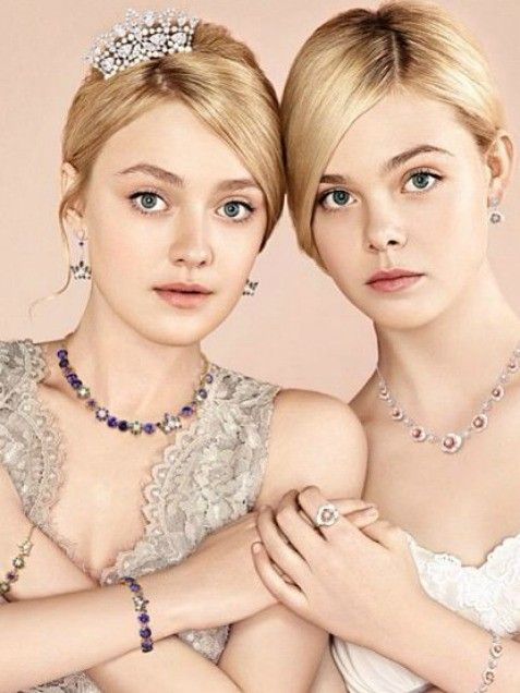Stylish Sisters      Nothing can break this sisterly bond! Actresses Dakota and Elle Fanning are covered in jewels as they gorgeously pose n...
