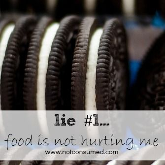 Lie #1...food is not hurting me. The first in a series of lies that keep me eating. Join us for the challenge. www.notconsumed.com