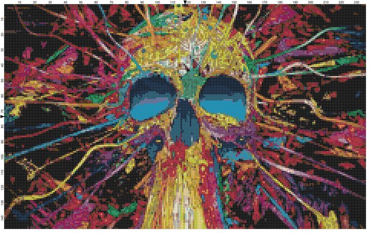 Exploding Skull Cross Stitch Printable Needlework Pattern - DIY Crossstitch Chart, Relaxing Hobby, Instant Download PDF Design