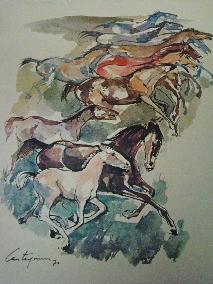 """Caballos"" (1970) Juan Carlos Castagnino"