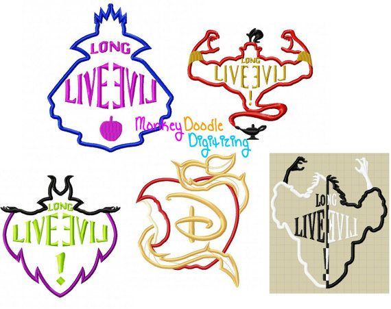 Descendientes Logo Pack 5 diseños bordados por MonkeyDoodleDigi