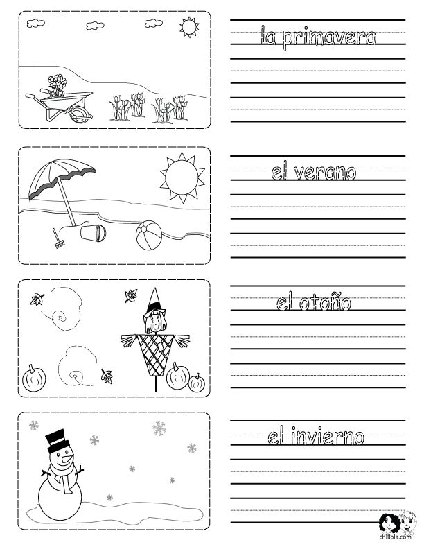 Printable worksheet on the seasons in Spanish with ...
