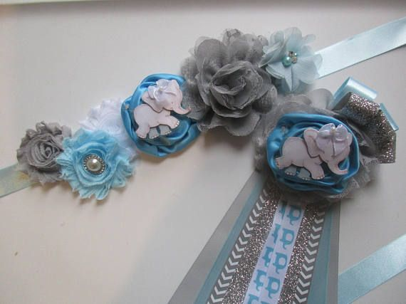 Set Elephant Baby Shower Corsage And Sash Mommy To Be Baby