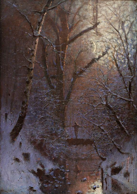 Ladislav Mednyánszky: Zimná noc. Postava na moste:1888