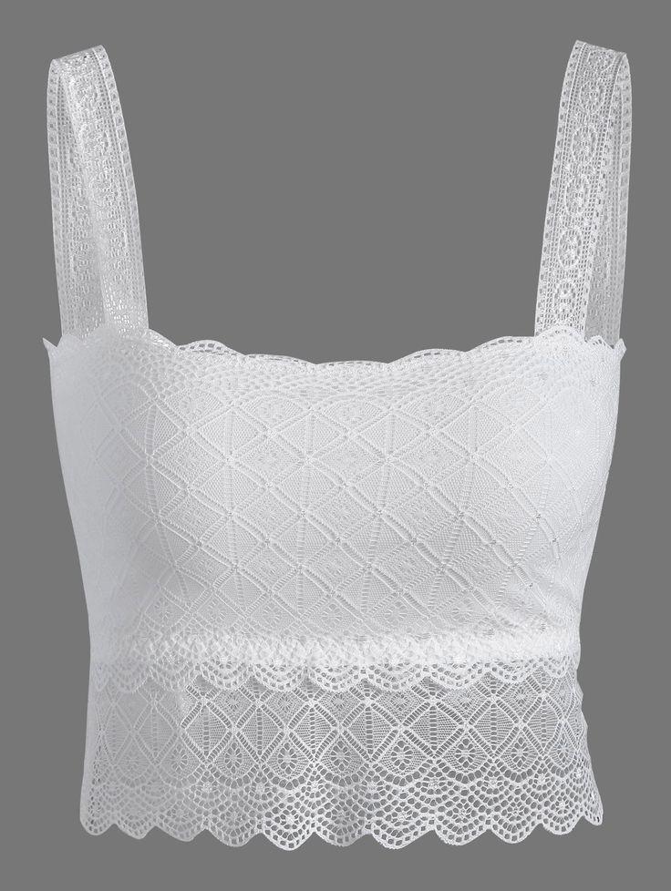 Wire Free Padded Lace Bra in White | Sammydress.com