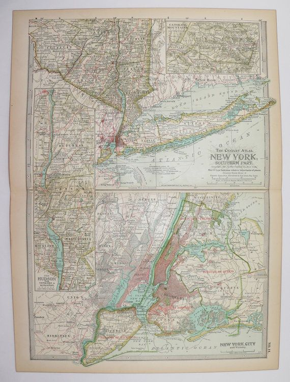 New York City Map Long Island 1901 Antique Map, Hudson River Map, Catskill Mountains, Vintage Map NYC Art Map, Travel Gift for Couple available from OldMapsandPrints on Etsy