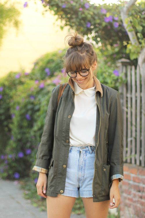 sheer white button up, high waisted light wash shorts, green button down/dusty rose cropped jacket