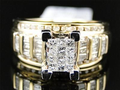 ladies yellow gold princess cut diamond engagement wedding bridal ring set 1 ct - Ebay Wedding Rings