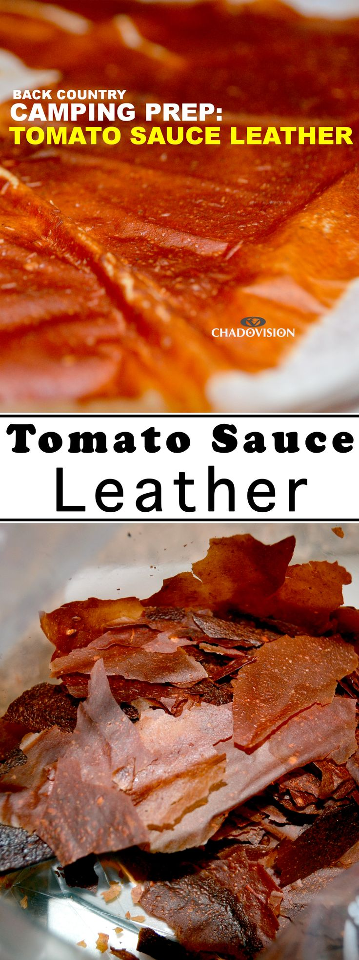 Save weight while camping with tomato sauce leather!