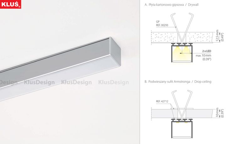 LIPOD Surface mounted profiles Architectural profiles for LED fixtures – dedicated to mounting on ceilings and drywall. The height of the profiles was designed so that they can produce a single line of light with two LED strips where the diodes are spaced 15mm apart and a frosted HS 22 cover is used.