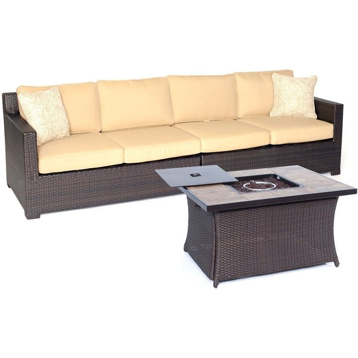 Hanover Metro3pc FP Set: Loveseat, Woven Fire Pit Coffee Table w/Porc Tile Top