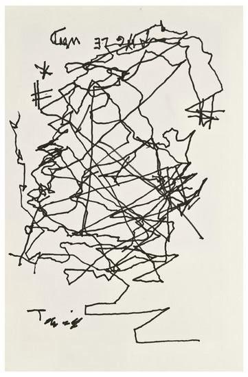 Jorge Luis Borges, 'Self portrait'    Drawn after he went blind