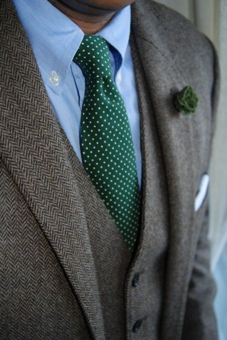 Green Polkadot Necktie With A Matching Lapel Flower