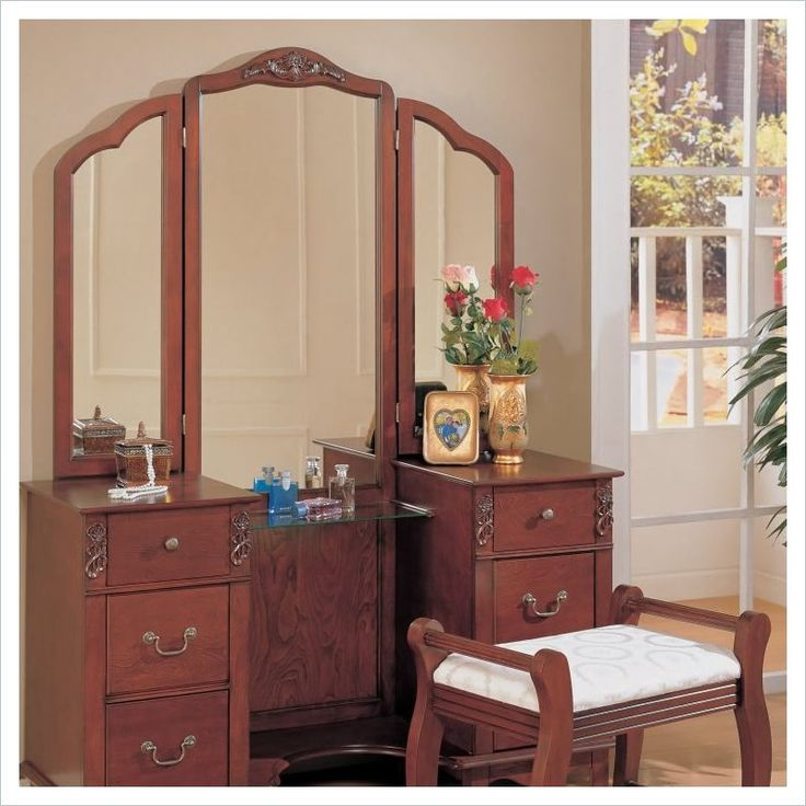 10 best images about vanity set on pinterest oval mirror for Vanity mirror sets furniture