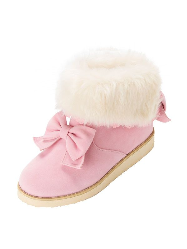 Japanese bow tie snow boots solid color round toe low plat boots cute warm winter short boots for women female girls