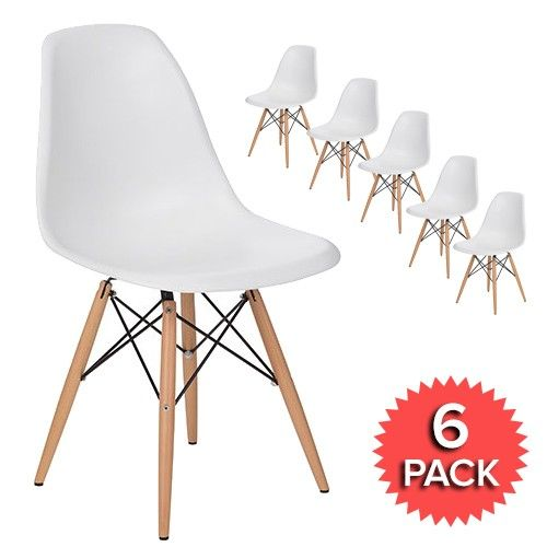 Set of 6 - DSW Dining Side Chair Wooden Legs - Eames Reproduction - White - Matte