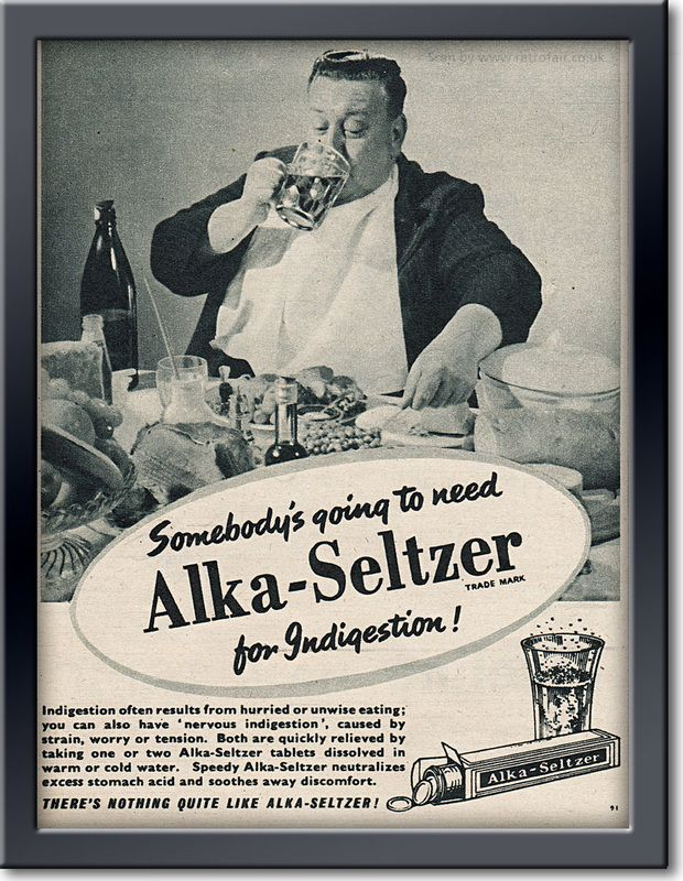 Somebody's going to need Alka-Seltzer. 1955 #vintageads #Ads #vintage #PrintAd #tvads #advertising #BrandScience #influence #online #Facebook #submissions #marketing #advertising