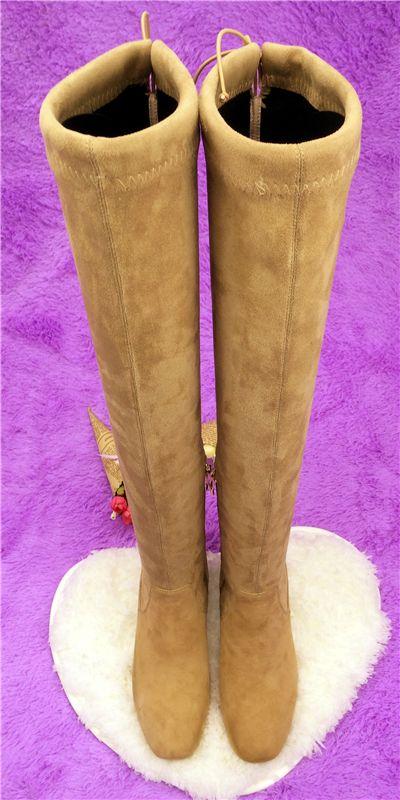 Площадь алмазов корейских женщин осенью и зимой сапоги женские сапоги с толстыми высокими сапогами растягивать сапоги матовые кожаные сапоги - глобальной станции Taobao