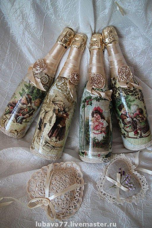 Купить Эксклюзивные винтажные бутылочки от мастера - подарок на новый год, авторская работа, эксклюзивный подарок, эксклюзив