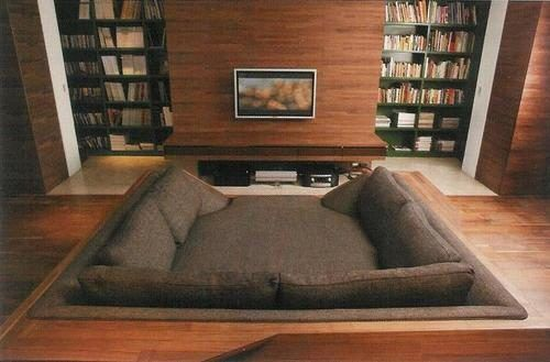 A movie pit... uhm, yes please!Theater Room, Movie Room, Home Theater, Ideas, Beds, Couch, Dreams House, Living Room, Movie Night
