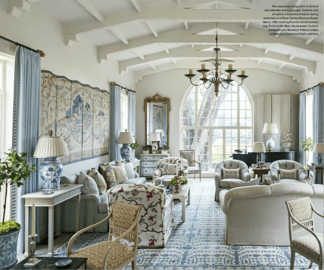 Inspiration for designing glamorous living rooms, dining rooms and bedrooms with designer rugs from the 7 Best Rooms in May 2017 Veranda magazine