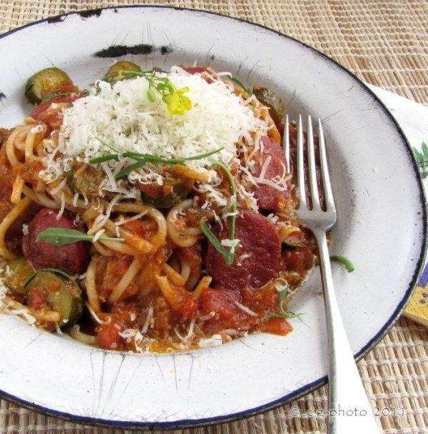Heirloom Tomato, Zucchini and Chorizo Spaghetti recipe - See more at: http://all4recipes.all4women.co.za/recipe-items/tomato-zucchini-and-chorizo-spaghetti-recipe#sthash.W56XBWEJ.dpuf