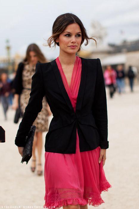 Pretty: Jacket, Rachelbilson, Fashion, Street Style, Dresses, Rachel Bilson, Pink Dress, Black Blazers