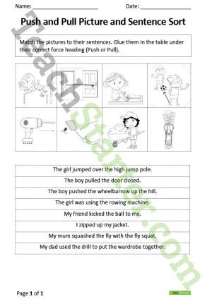 Push and Pull – Picture and Sentence Sort Worksheet