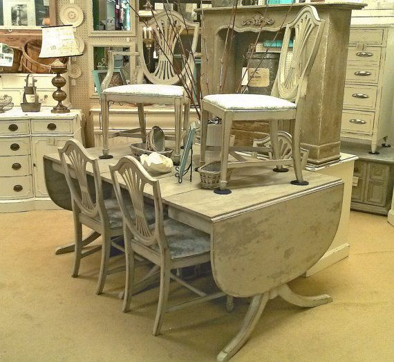 Shabby Distressed Grey Duncan Phyfe Style by royaloakcottage, $1089.00