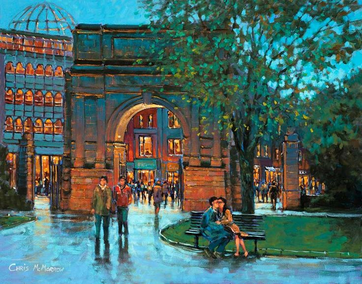 Lovers in Stephen's Green (code-450) by Chris McMorrow - PRINT