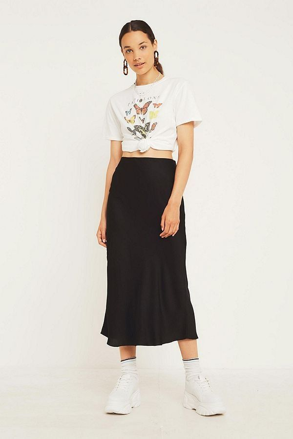d82639539408 UO Black Satin Bias-Cut Midi Skirt | New Arrivals | Midi skirt, Midi ...