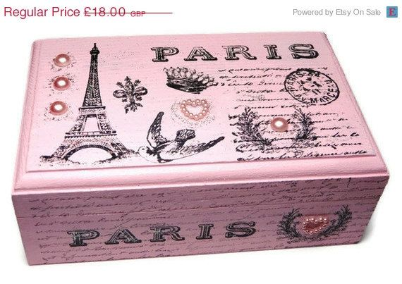On sale Pink Paris Keepsake Box, Jewelry Box, Keepsakes, Eiffel Tower, French