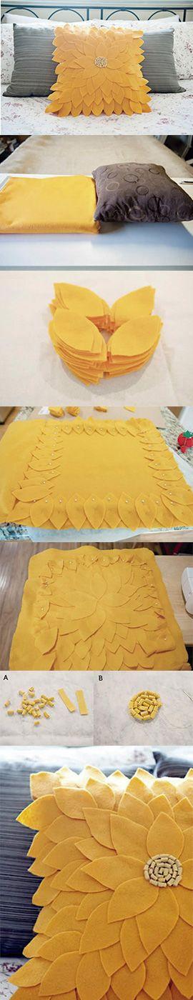 Capa para almofada usando feltro| estilo girassol