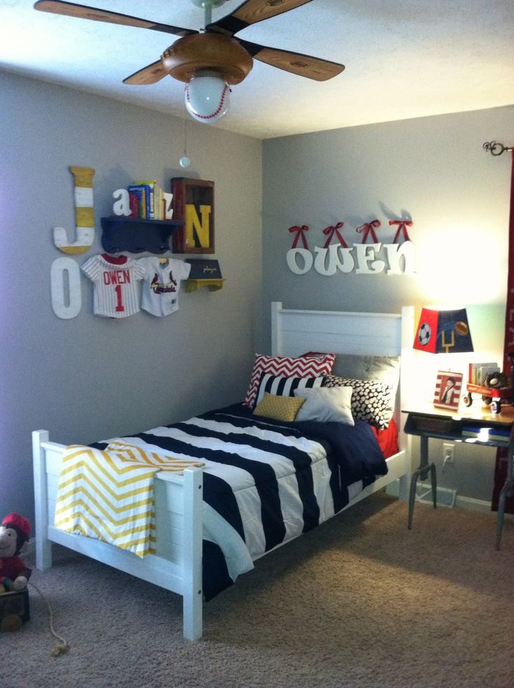 Vintage boys room sports navy red yellow vintage for Boys sports bedroom ideas