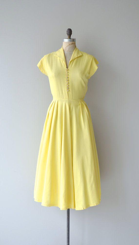 Sonnenschein dress 1940s linen dress vintage 1940s by DearGolden